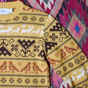 Vintage Mustard Acrylic Pattern Sweater